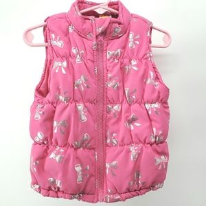 Healthtex Pink Silver Bows Puffer Vest, 3T